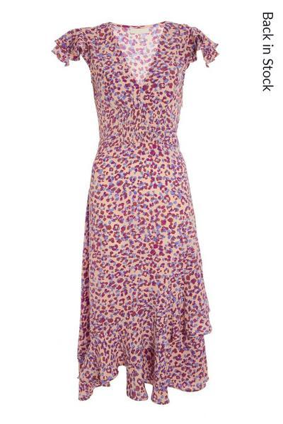 Lilac Animal Print Midi Dress